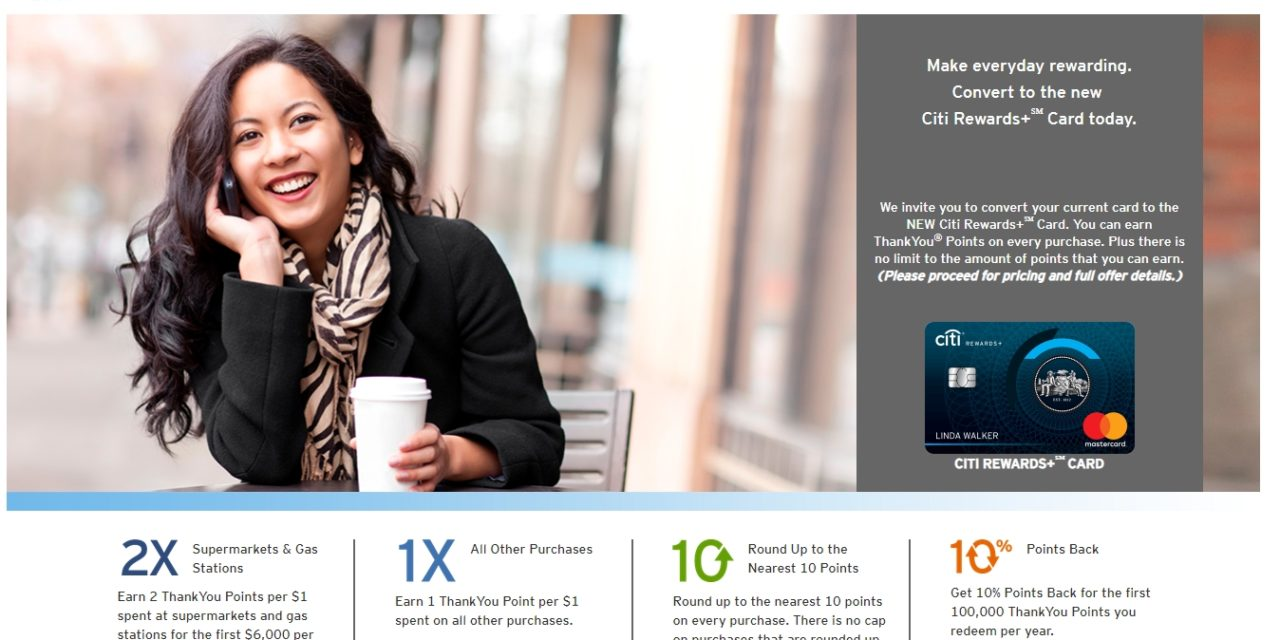 new citi rewards thankyou points card with round up