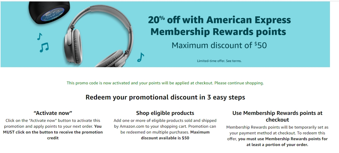 Amazon 6% Off up to $6 using Amex Membership Rewards Promotion