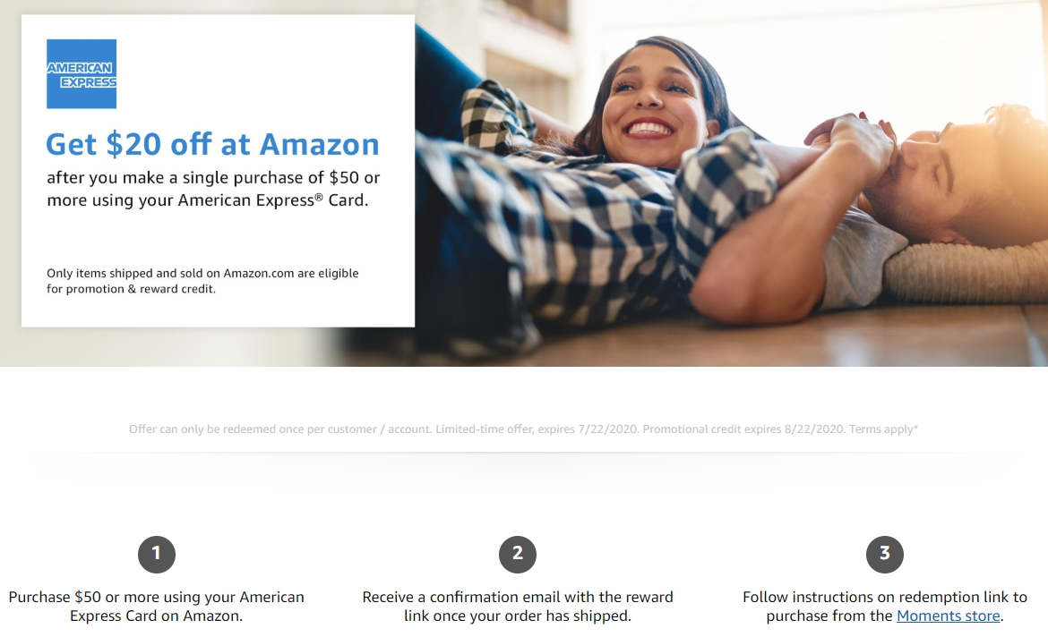 Get $6 for $6 purchase at Amazon when using an American Express